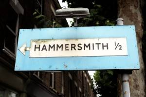 Old street sign of Hammersmith in London