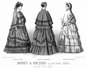Sketch showing common fashion in Paris in 1869