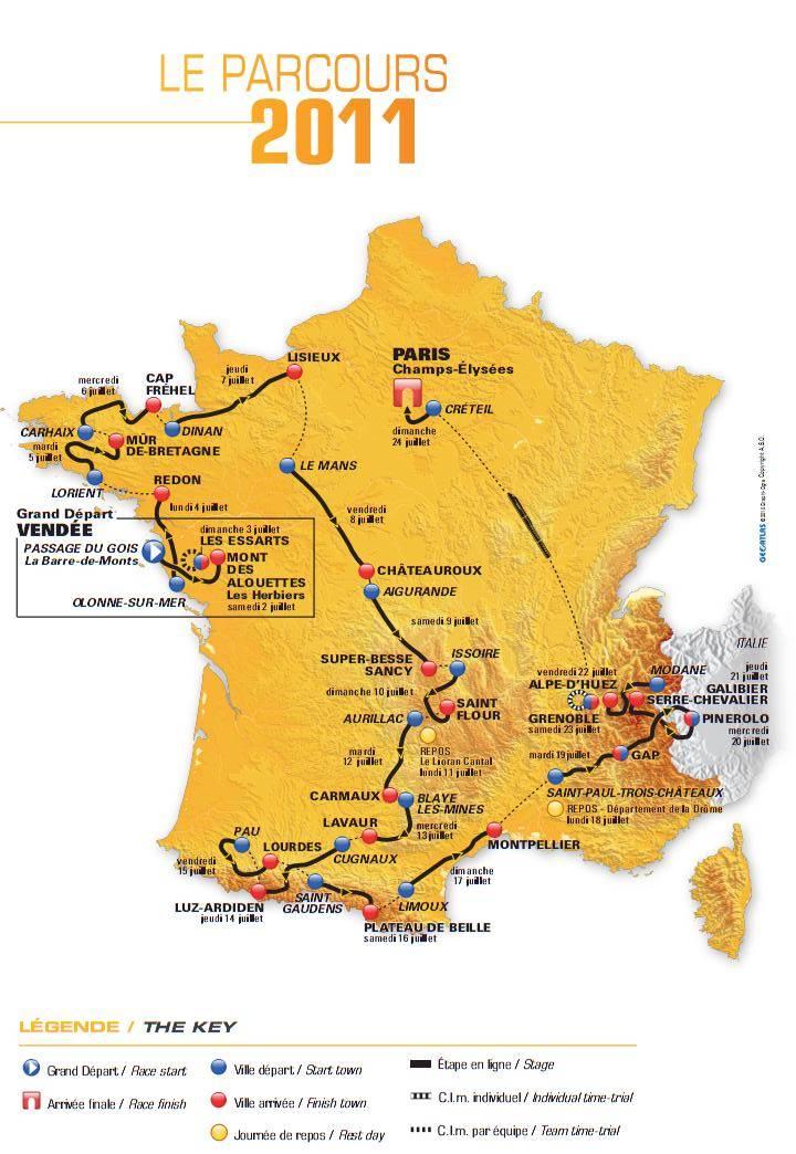 tour de france logo 2011. Map of the 2011 Tour de France