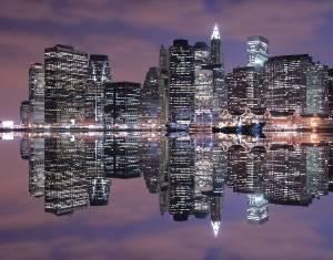 New York Skyline at night in the summer