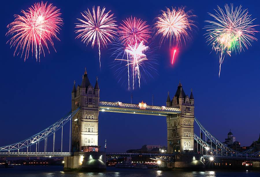Tower Bridge in London with Fireworks above