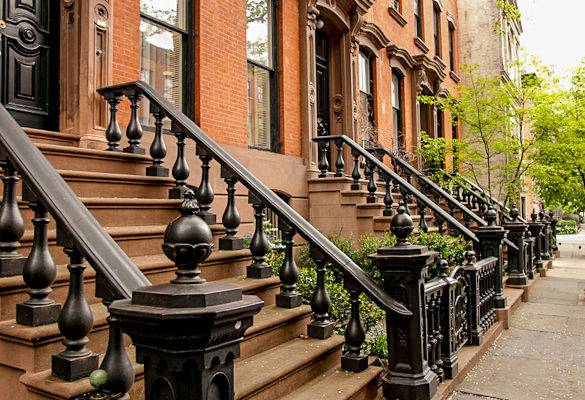 Typical Brownstones in Manhattan, New York. A very popular type of vacation rentals amongst international travelers