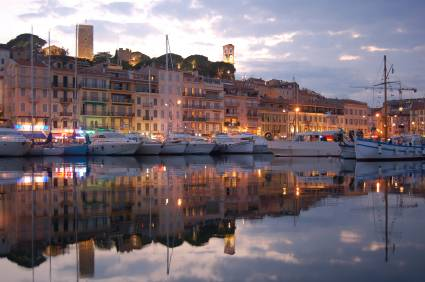 Cannes harbor at night