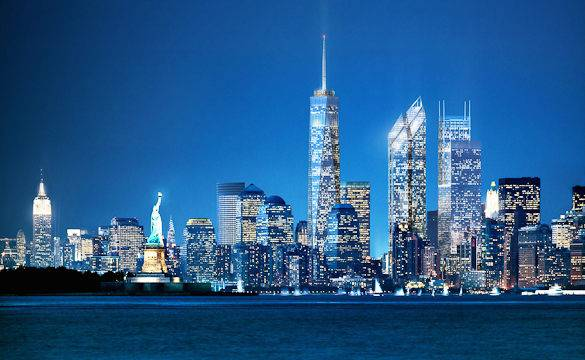 A simulated image of the finished new WTC and the Lower Manhattan skyline at night (courtesy of Silverstein Properties)