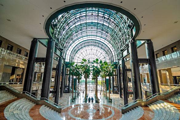 The glass atrium of the Winter Garden of the World Financial Center boasts real palm trees