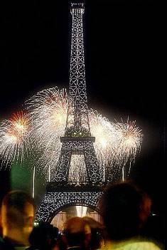 A picture of Bastille Day fireworks and the Eiffel Tower