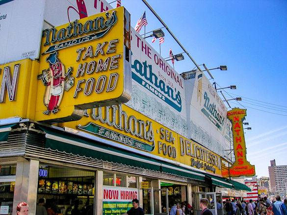 A picture of Coney Island's Nathan's Famous fast-food restaurant
