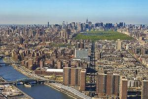Panoramic image of the Harlem River, Harlem, Central Park and Midtown Manhattan, New York City