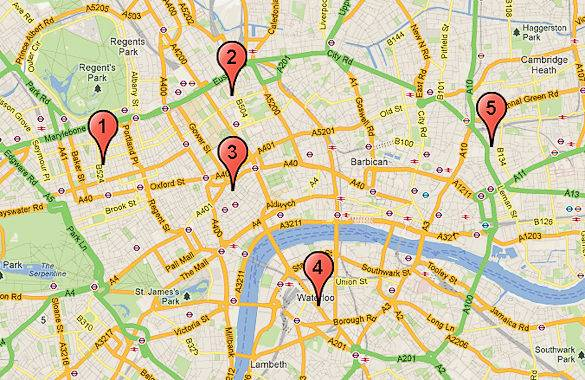 A map of London with our top 5 fish & chips places