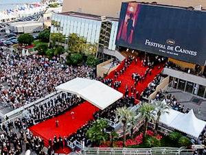 Image of the red carpet at the the Palais des Festivals et des Congrès for the Cannes Film Festival