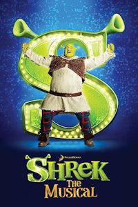 A poster of Shrek: the Musical for London's Kids Week
