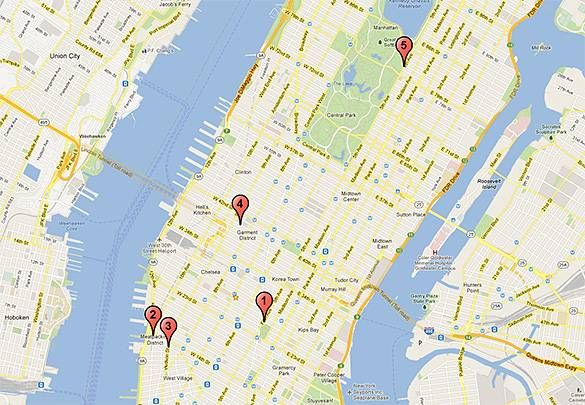 A map of the top 5 rooftop bars in New York City