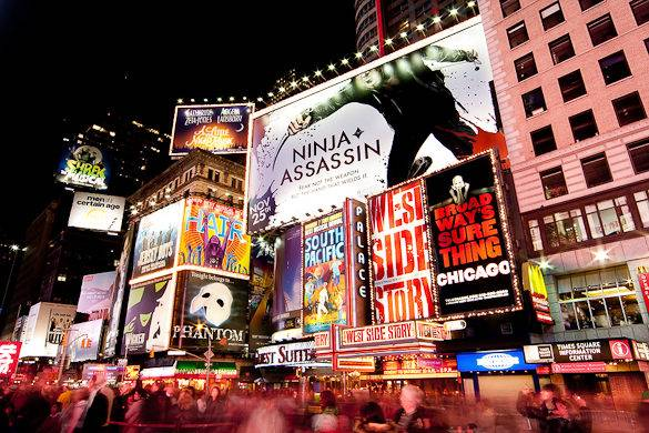 Image of Times Square billboards with Broadway musicals in NYC