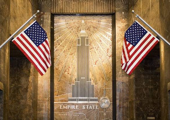 Picture of a mural depicting the Empire State Building in New York City
