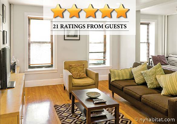Photo of an apartment with reviews and stars
