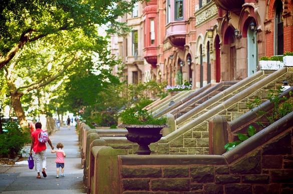 Picture of brownstones in Park Slope, Brooklyn