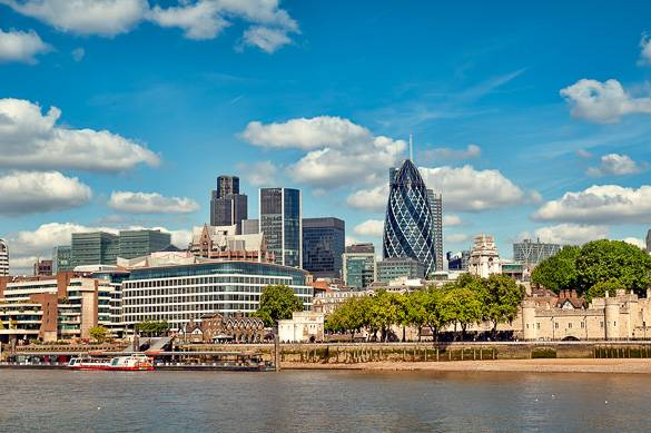 Picture of the financial district of the City of London taken from the Thames
