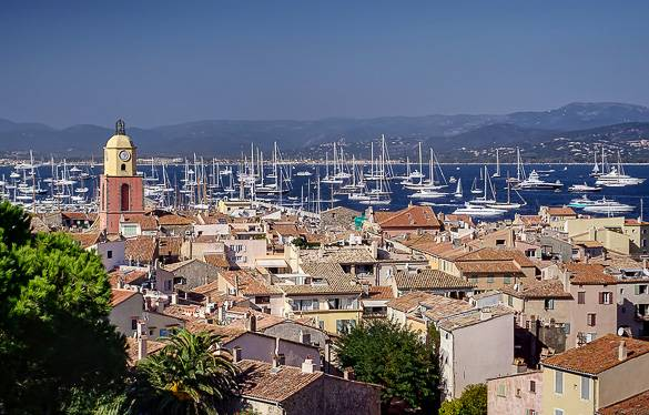View of Saint-Tropez and its harbor in the French Riviera