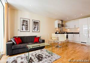 Image of a living room and kitchen in a vacation rental apartment in London