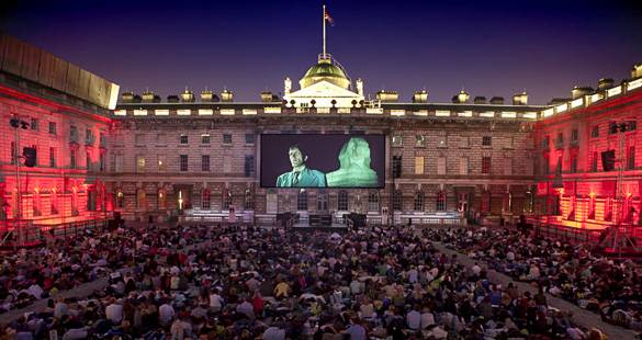 Image of an outdoor movie showing at London's Somerset House