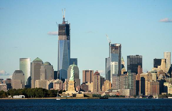 View of Liberty Island and Lower Manhattan taken from the New York Harbor