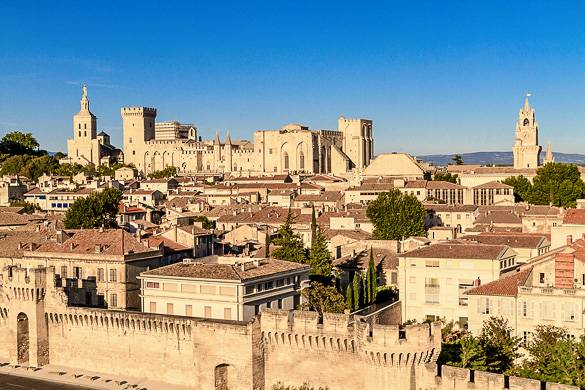 Panoramic view of the city center of Avignon