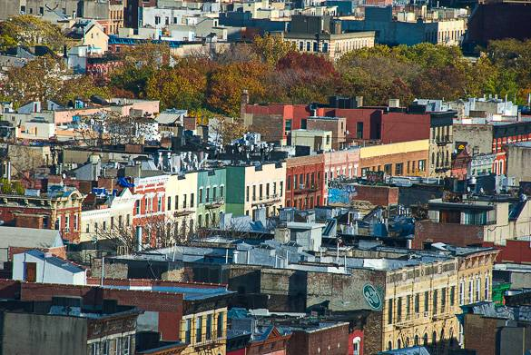 View of rooftops in Manhattan's East Village
