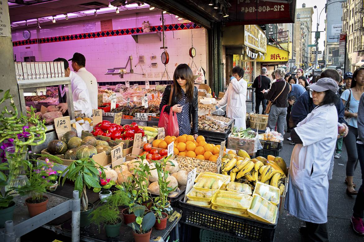 Picture of a market stall selling fresh produce in Chinatown, New York