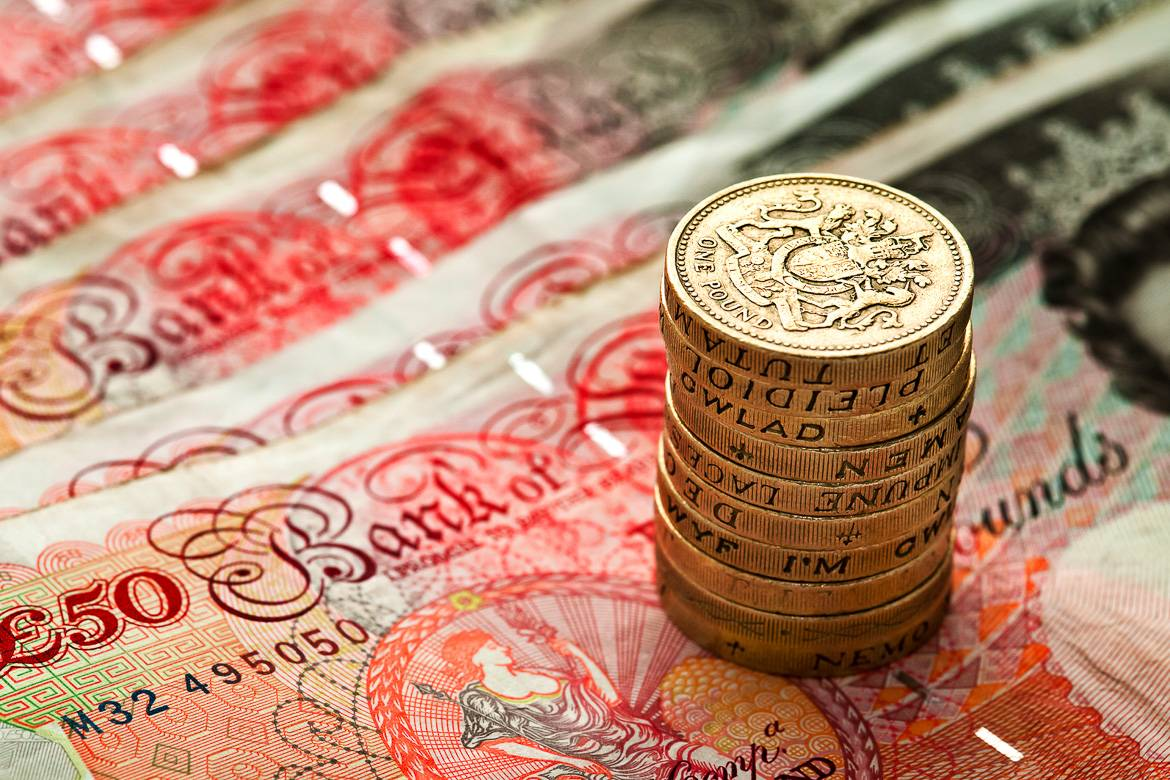 Photo of the currency used in Britain.
