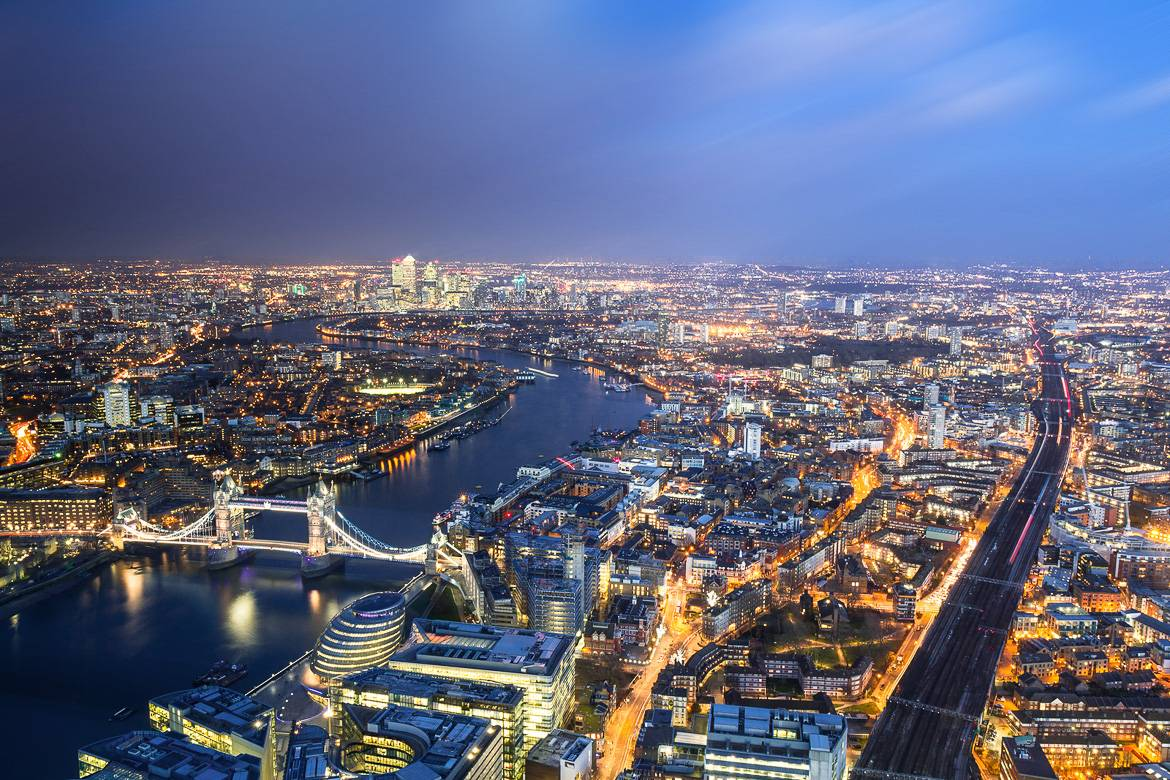 Picture of London from an aerial perspective.