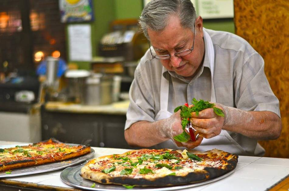 Picture of pizzaiolo Domenico at Di Fara's.
