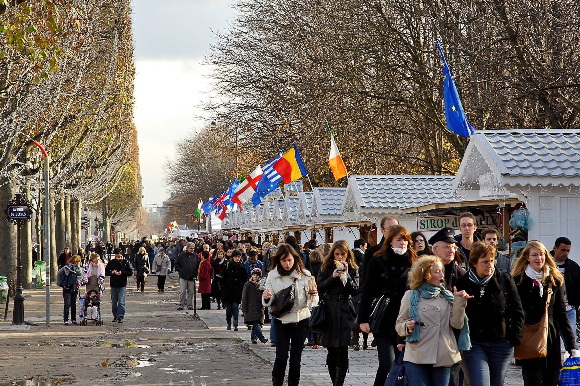 The holiday markets along the Champs Elysées