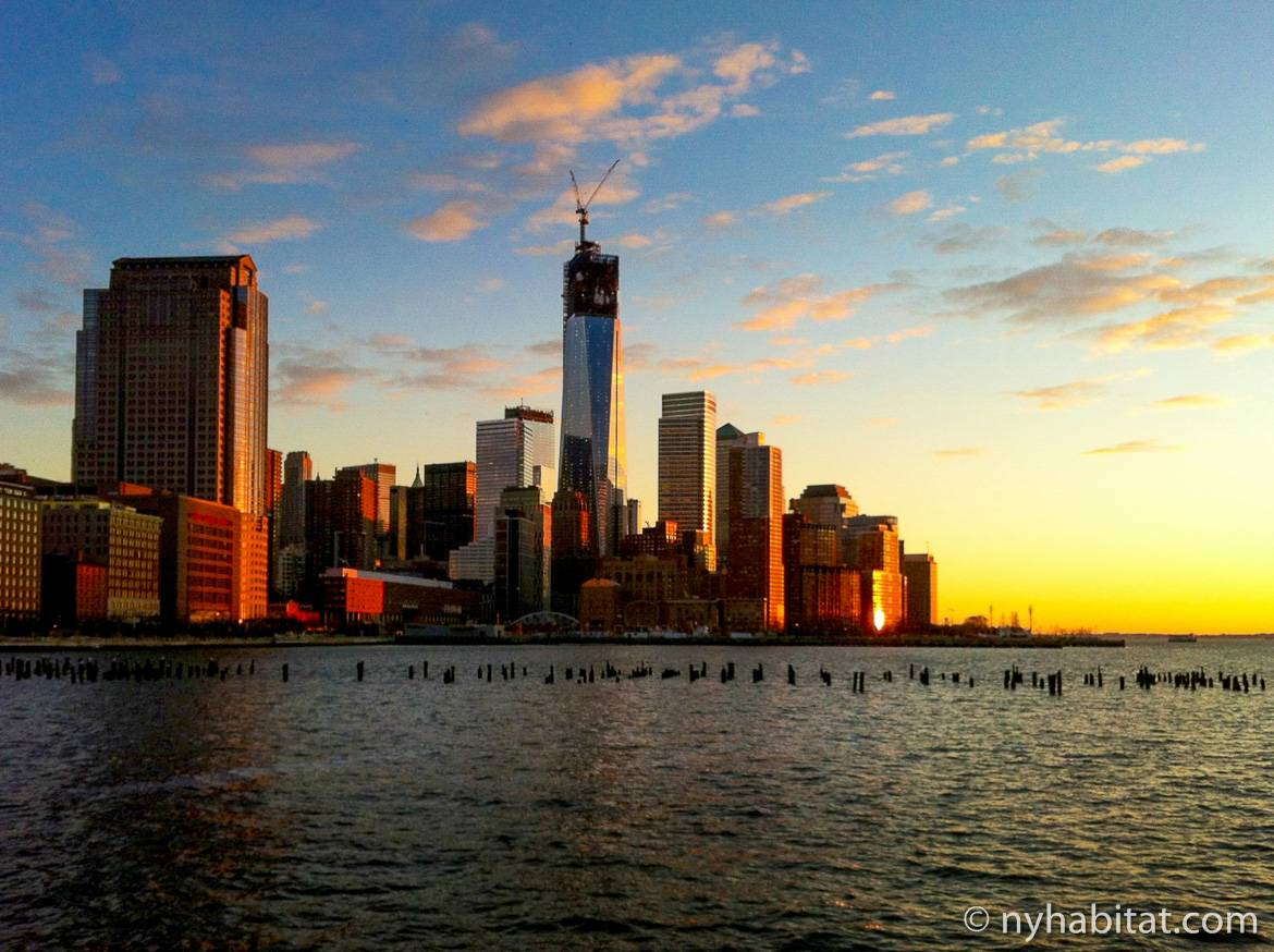 One world trade center sunset
