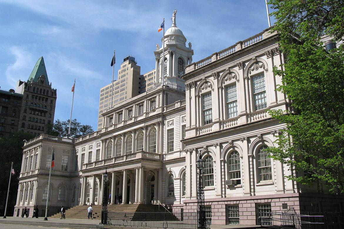 Image of the facade of New York City Hall in Manhattan