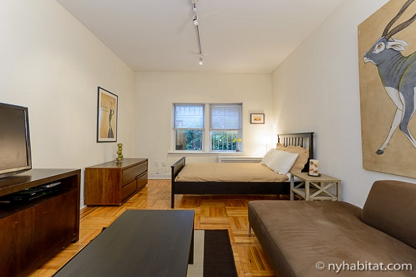 Image of studio apartment NY-15404 with couch, television, and double bed