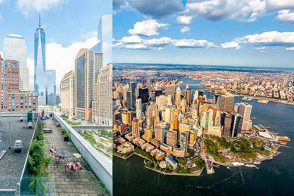 Collage of Battery Park and view of Freedom Tower and rooftop terrace