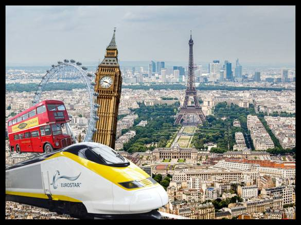 Image of a Eurostar train and famous landmarks in Europe