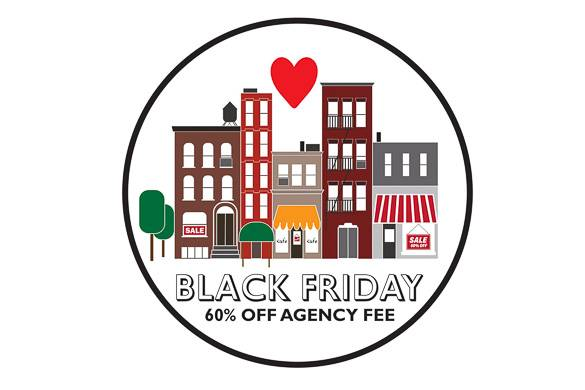 Image of cartoon-style NYC buildings and heart advertising Black Friday sale