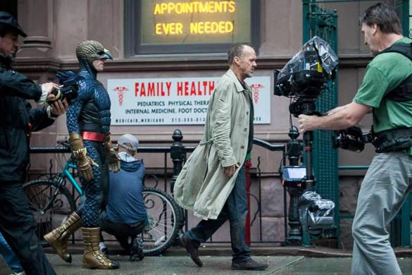 "Image of Michael Keaton on the set of the movie ""Birdman"" in NYC"