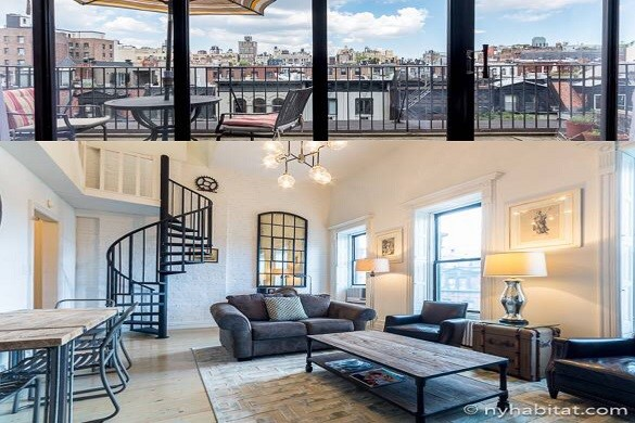Image of NY-16947 duplex apartment living room and terrace on the Upper West Side