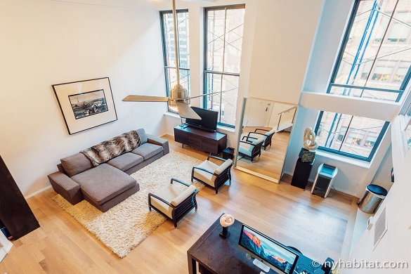 Image looking down from above on living room of duplex loft NY-12177 in Greenwich Village