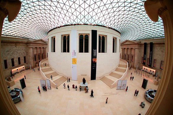 Image of the inside of the British Museum with glass ceiling