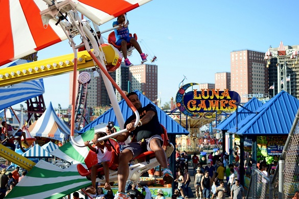 Image of Coney Island amusement park rides and boardwalk