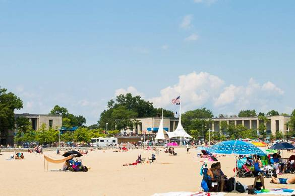 Image of people on the beach on City Island in the Bronx
