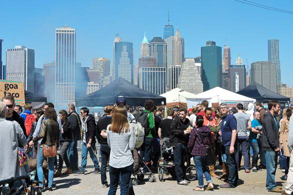 Image of food vendors at Smorgasburg on the Brooklyn waterfront