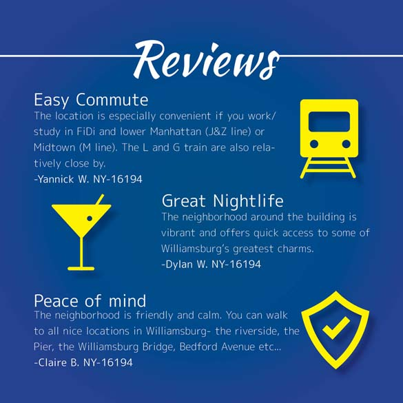 Infographic of New York Habitat client reviews on Williamsburg