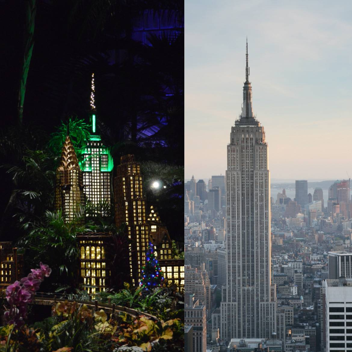 Image of a replica of the Empire State Building with Chrysler Building and other apartment buildings  and image of Empire State Building towering over the Manhattan skyline