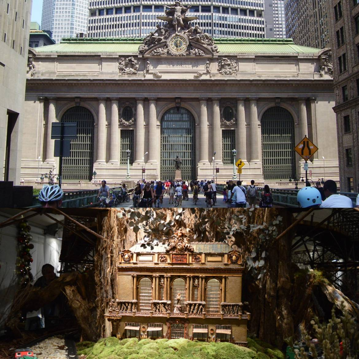 Image of a replica of Grand Central Terminal made of tree bark and image of Grand Central Terminal with bicyclists on the roadway in front