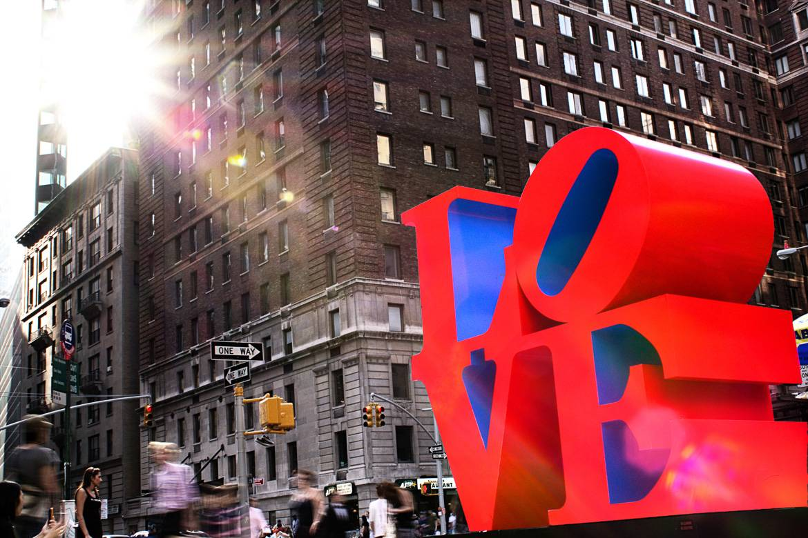"Image of sculpture of the word ""LOVE"" in red in Manhattan"