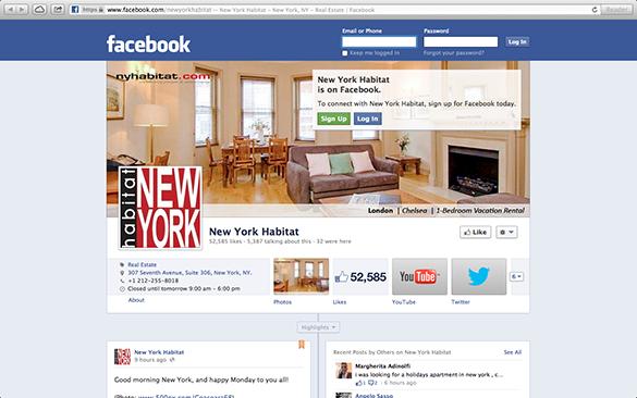 Screenshot der Facebook Seite von New York Habitat